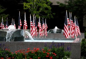 A memorial display honors veterans who gave their lives.