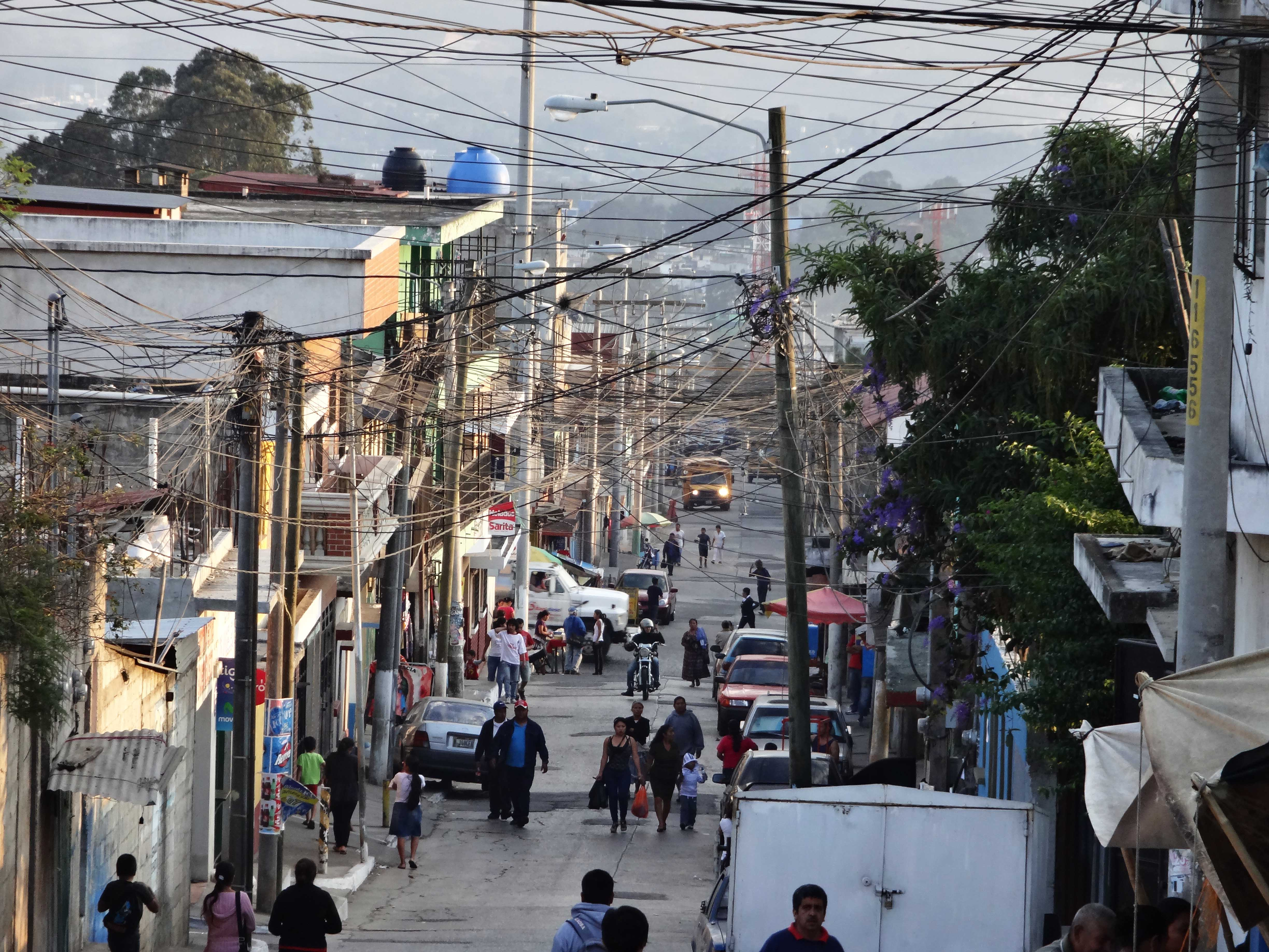 Street in a poor barrio in Central America.